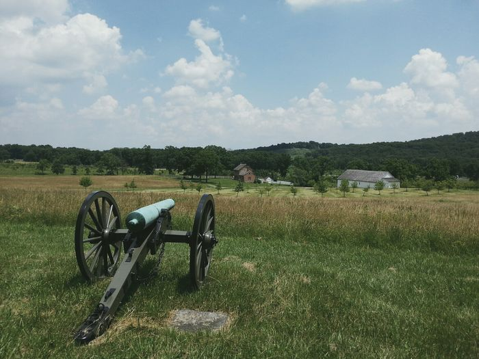 Old cannon in field