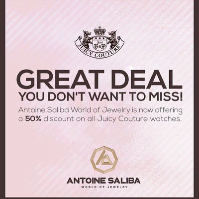 GREAT DEAL YOU DON'T WANT TO MISS! 50% Discount on all JUICY COUTURE Watches Limited Time & Quantity #Discount #Watches #Juicy_Couture #AntoineSaliba #Byblos #Beirut #Lebanon #Jbeil #Jewelry #Jewellery #Instalikes #Diamond #Diamonds #Fashion #Gold #Fashi Onlineshop Instalikes Byblos Antoinesaliba Beirut Juicy_couture Fashion Timepieces Gold Fashionlove Lebanon Watches Discount Jewellery Jewelry Jbeil Diamond Diamonds Online  Luxury