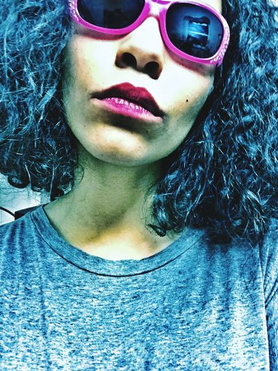 Portrait Glasses Reflection Glasses Reflect Sunglasses Woman Urban Hair Lips Face