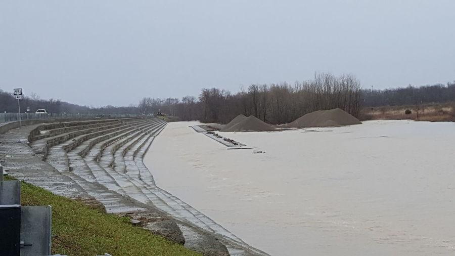 dam at flood