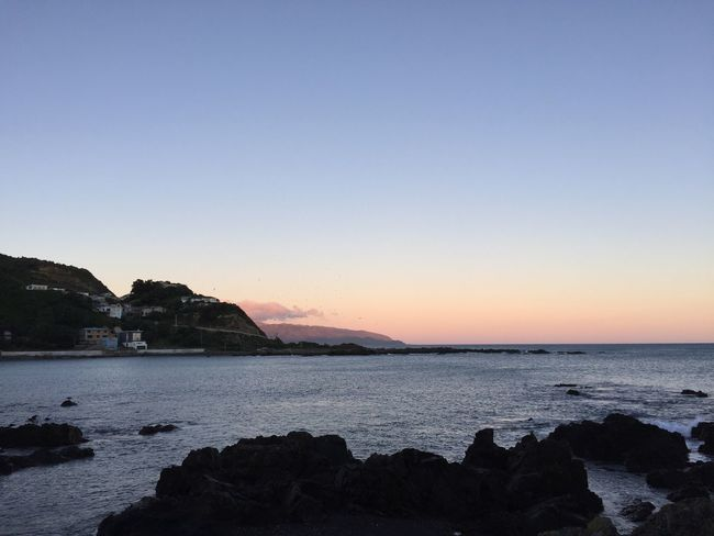 On Wellington's south coast as the sun is starting to set. Coastline Sunset Natural Beauty Remote Nature New Zealand Horizon Water Coast Idyllic Iphone6 Outdoors Tranquil Scene Beach Scenery Landscape Horizon Over Water Island Bay Wellingtonnz Wellington