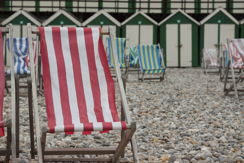 Beach Beach Huts Day Deckchair Deckchairs Deckchairs On The Sand Outdoors Red Seaside Striped Breathing Space