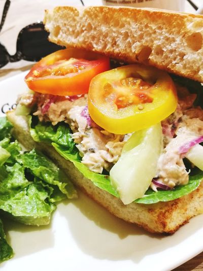 breakfast Saturdays dreamers tuna sandwich.. #breakfasts #check this out #enjoying life #JustMe #tuna Sandwich #Saturdays #tomatoes #PlacesToVisit #coffee Bean #photography Egg Yolk Fried Egg Egg Food And Drink Toasted Bread