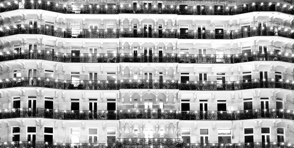 Grand Hotel Building Exterior Built Structure Architecture Full Frame Backgrounds No People City Window Building Glass - Material Apartment Pattern Side By Side Day Repetition Residential District Outdoors Reflection Cityscape Luxury Grand Hotel Brighton Balcony Patterns Everywhere Patterns In Architecture