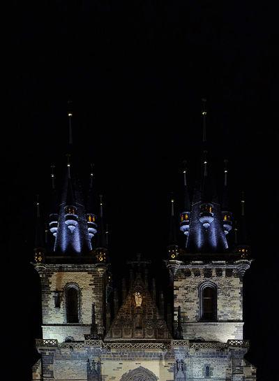 Facade of church at night