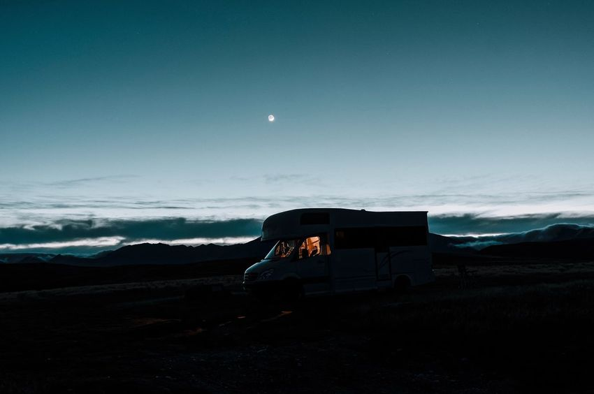 Sky Blue Transportation Landscape Land Vehicle No People Nature Outdoors Cloud - Sky Moon Scenics Beauty In Nature Night Nightphotography Night Photography Camping Camper Motorhome New Zealand Lost In The Landscape