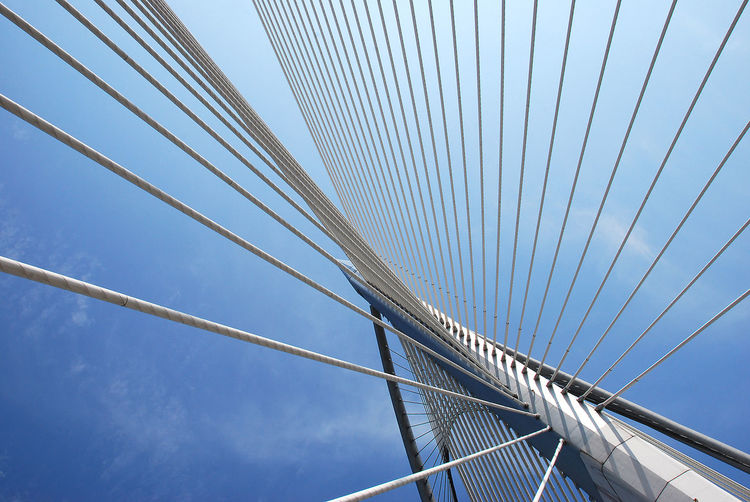 Bridge Structure and sky Architecture Blue Bridge Bridge - Man Made Structure Built Structure Cable Cable-stayed Bridge Connection Day Low Angle View No People Outdoors Sky Steel Cable Wawasan Bridge