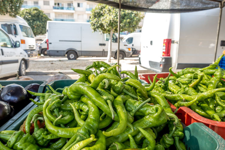 Roquetas De Mar SPAIN Almería Market Street Market Spanish Market Vegetable Food Food And Drink Freshness City Street Green Color Healthy Eating Retail  Mode Of Transportation Day Transportation Pepper For Sale Raw Food Large Group Of Objects Motor Vehicle Market Stall Wellbeing