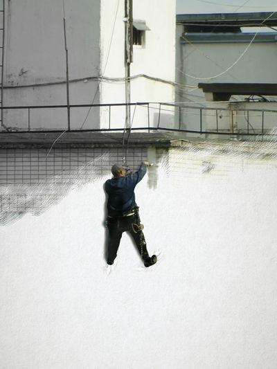 Adventure Club Industrial Abseiler Industrial Climber Painter Artist художник промальпинист промышленный альпинист Wall стена Popart попарт Рисование дом картина House Picture Outside Outsidethebox Fine Art Photography Showcase July