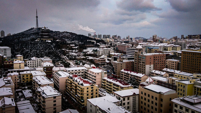 Chinese winter Temperature Winter City Cityscape View From Above Areal View Urban Urban Skyline House Hill Tranquil Scene Cloud - Sky Clouds Snow Snow ❄ Weather Cold Temperature Landscape Shades Of Winter