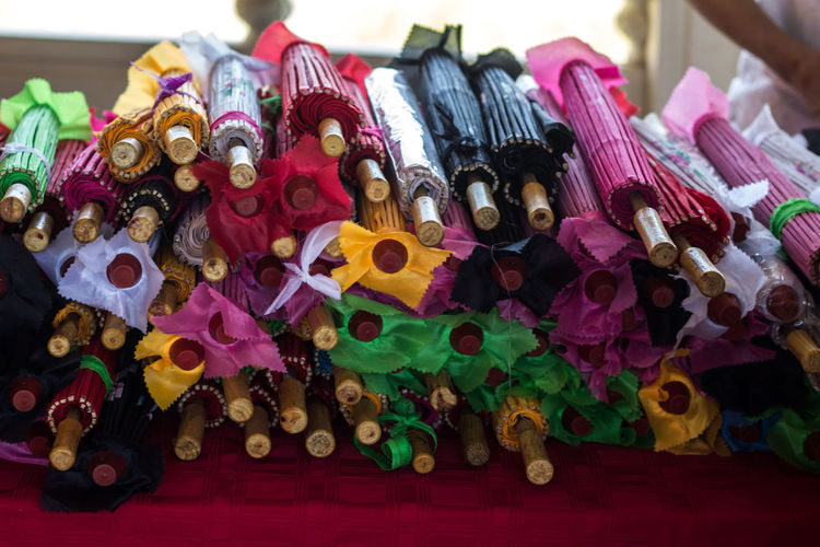 Close-up of colorful objects for sale