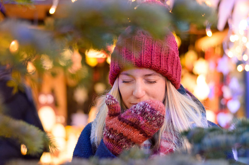 Adult Adults Only Beautiful People Beautiful Woman Beauty Close-up Headshot Illuminated Knit Hat Knitted  Night One Person One Woman Only One Young Woman Only Only Women Outdoors People Real People Scarf Smiling Warm Clothing Winter Women Young Adult Young Women