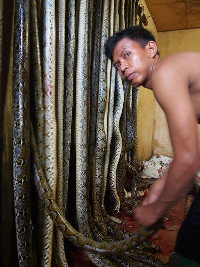 Portrait Of Man Holding Dead Snake