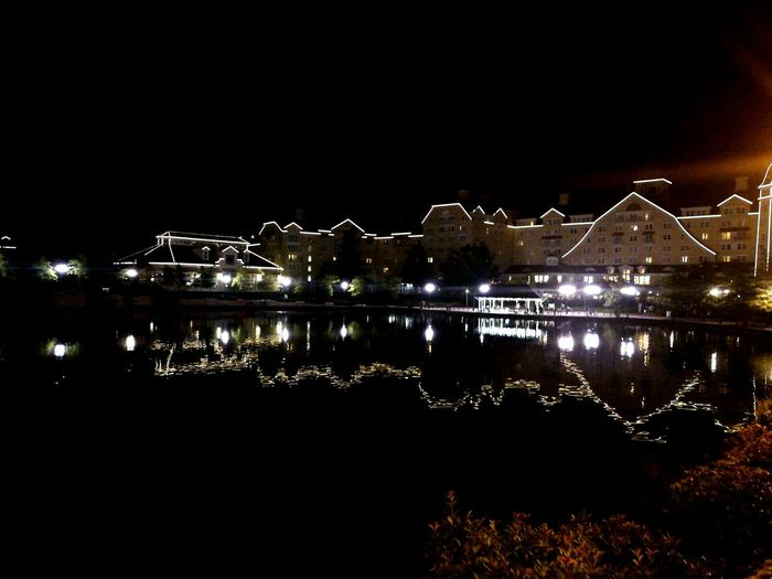 Disney land Paris Newport bay hotel Night Illuminated No People Water Outdoors