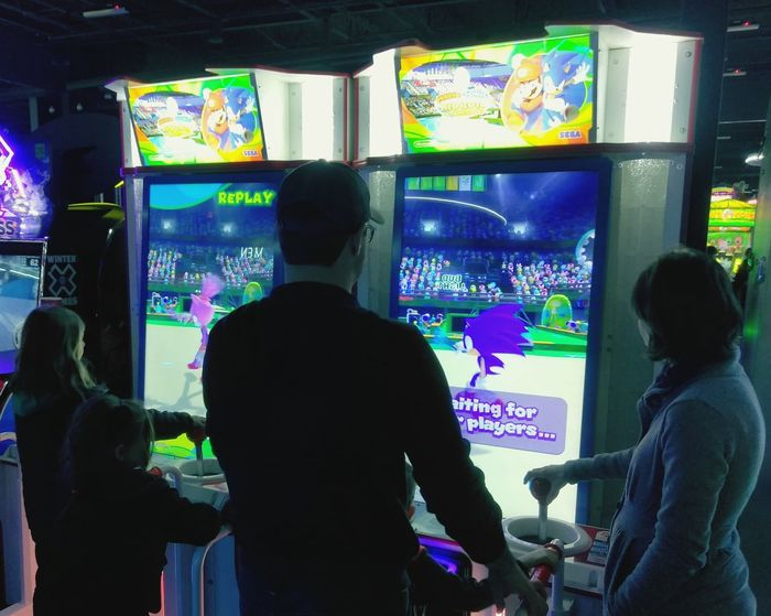 Technology Friendship Men Indoors  People Only Men Arcade Arcade Game Arcade Games Arcade Machine Playing Videogames