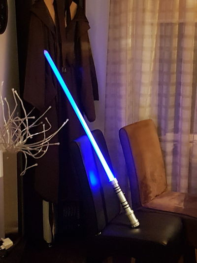 Custom lightsaber Lightsaber Custom Pvc LED Blue Blue Lightsaber Star Wars Game Toy Prop MOVIE Movie Prop Creation Creativity Pointy Long Straight Low Budget