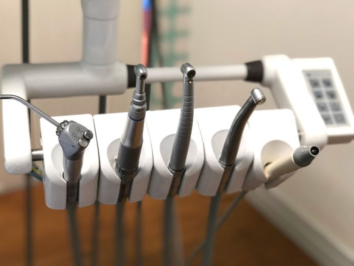 Close-up of dental equipment in clinic