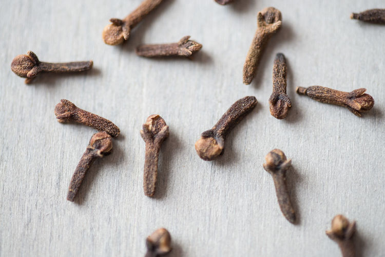 High angle view of cloves on table