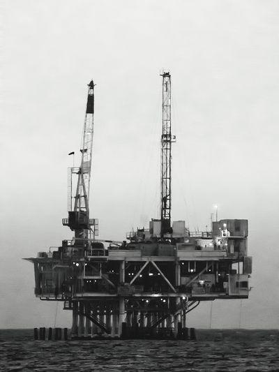 Oilrig Blackandwhite Beachphotography Industrial Telephoto Shades Of Grey