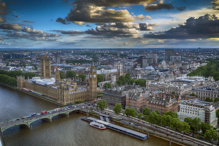 Aerial view of bridge over river