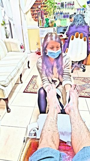 At the nail salon getting a deluxe pedicure with my wife Nail Salon Pedicures  Hairy Legs  Artistic Asian Girl Manicures Pampering Pampered Feet Hanging Out Mask Personal Looking Good Candid