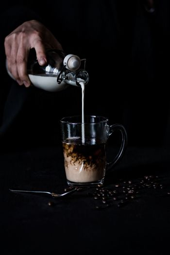 Drink Food And Drink Preparation  Indoors  Black Background Human Hand Coffee Coffee Time Latte Cream Coffeelover Pouring Milk Still Life Still Life Photography On The Table Moody Mug Glass