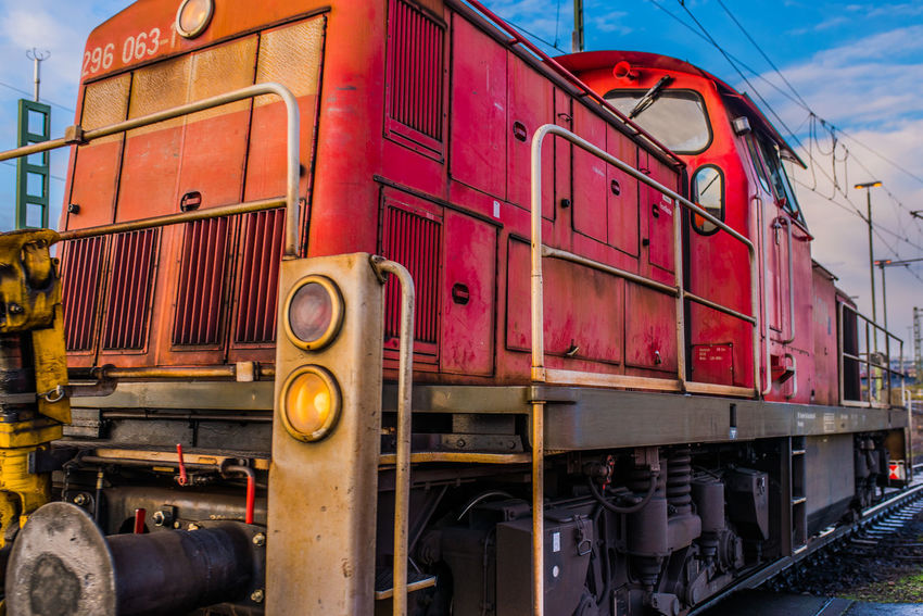 DB DB Bahn DB Cargo Day Freight Transportation Land Vehicle Locomotive Mode Of Transport No People Old-fashioned Outdoors Public Transportation Rail Transportation Railroad Track Red Shunting Shunting Yard Sky Stationary Steam Train Train - Vehicle Transportation
