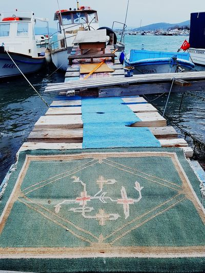 Motifs Floor Motif  Halı Deniz Iskele Turkey Harbor Outdoors Marina Multi Colored Sailboat No People Blue