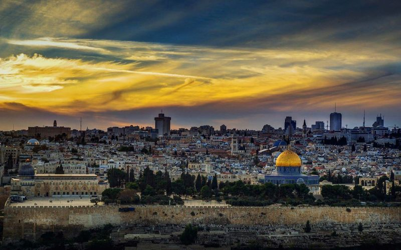 The Holy City 2 Jerusalem Palestine Cityscape City Urban Skyline Sunset Sky Architecture Place Of Worship Christianity Dome Religion Church Islam Historic Mosque