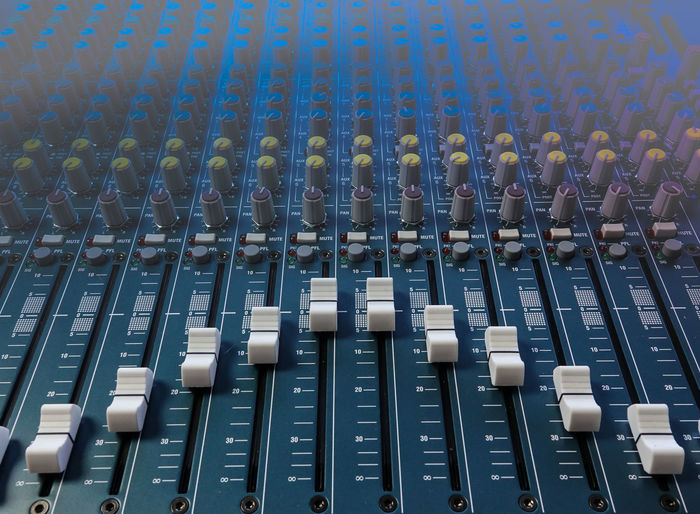 High angle view of sound recording equipment