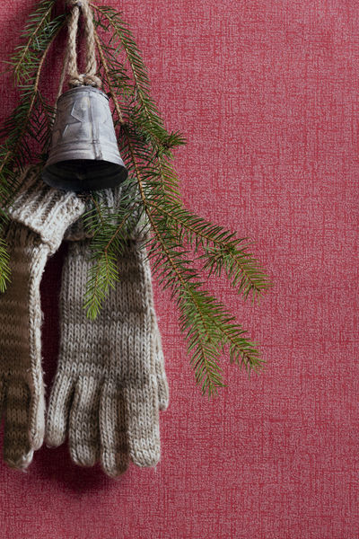 A pair of handgloves hanged on the red wall with a nail, together with a christmas bell and a fir tree twig Christmas Bell Winter Christmas Close-up Decoration Domestic Room Green Color Hand Gloves Hanging Holiday Home Interior Indoors  Red Red Wall Textile Twig