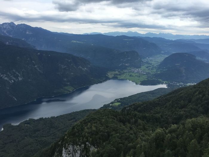 At the top of the cable car Bohinjsko Jezero Day Lake Bohinj Landscape Majestic Mountain Mountain Range No People Physical Geography Scenics Slovenia Stara Fuzina Tranquil Scene Travel Travel Destinations Water A Bird's Eye View Flying High