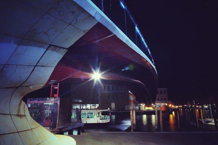 Calatrava Bridge Illuminated City Light Beam Architecture Sky Building Exterior Built Structure Stage Light