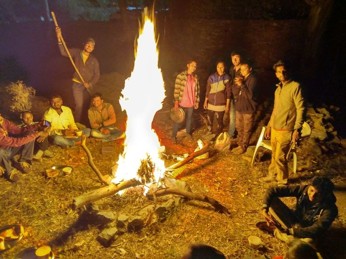Camp Fire,night Life,people Enjoy,