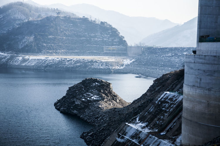Canal Day Destination Flowing Flowing Water High Angle View Human Settlement Lake Leading Motion North Han River Outdoors River Rock Rock - Object Sea Snow Soyang Lake Stone Trip Voyage Water Waterfall Winter