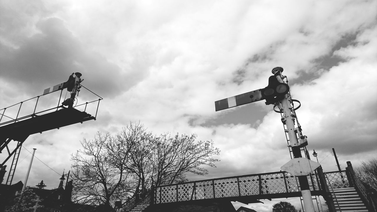 Cloud - Sky Sky Outdoors Day Low Angle View Water No People Railway Track Railway Station Railway Signal Black & White Bridge Signals Lancashire UK English Countryside