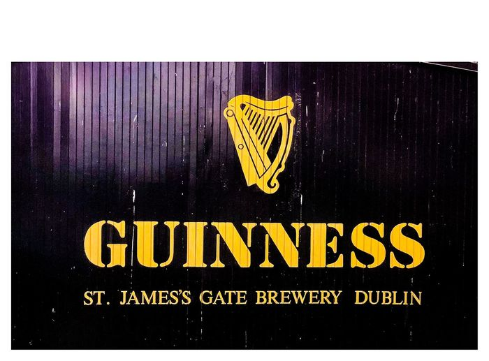 St James's Gate - Guinness Famous Gate Mobile Photography IPhone Photography IPhone IPhoneography ShotOnIphone Travel Photography Travel Destinations Travel Dublin Ireland Harp Guinness Stout Beer Black Text Western Script Communication Yellow Capital Letter No People Close-up