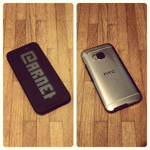 HTC One M9 Gold on Silver with HTC DotView Ice - Premium case. HTC HTCOneM9 OneM9 DotView