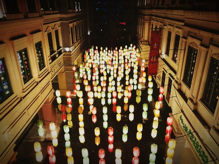 Chinese Lights. Illuminated In A Row High Angle View No People Celebration Architecture Night Large Group Of ObjectsIndoors  Candle Politics And Government