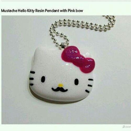 Cat Kitty Mustache Hello_Kitty Pendant Etsy Resin 2littlekisses