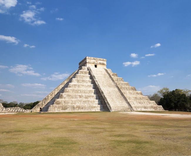 Chichen Itza Against Blue Sky During Sunny Day