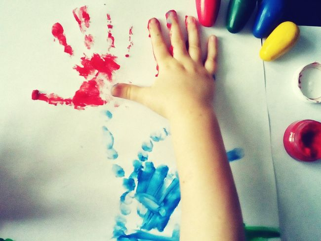 Colors Hands At Work Kid Hand  Kids Painting Kids Having Fun Red Prints Showing Imperfection