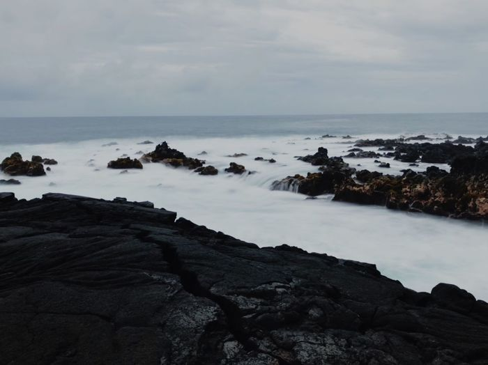 Hawaiian coast Coast Black Waves, Ocean, Nature Waves Sky Nature Beauty In Nature Sea Tranquility Tranquil Scene Horizon Over Water Scenics No People Water Rock - Object Outdoors Landscape Day