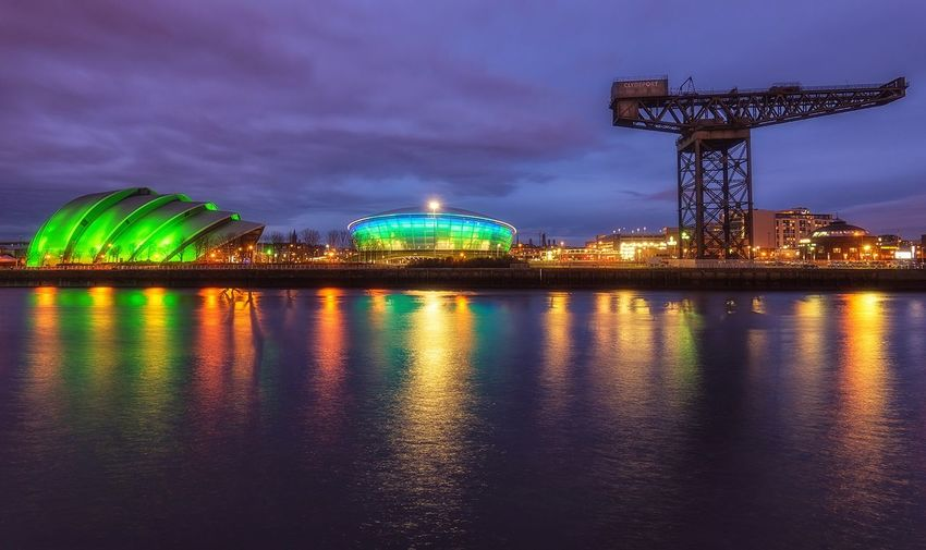 Clyde, Scotland Night Illuminated Long Exposure City Outdoors Scenics Urban Skyline Scotland