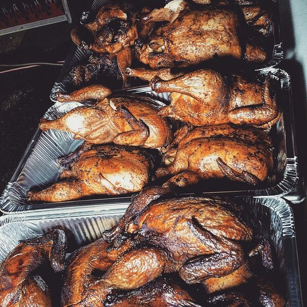 My World Of Food smoked Chickens. Bbq catering for Hardscrabble Fest in Red Hook NY.