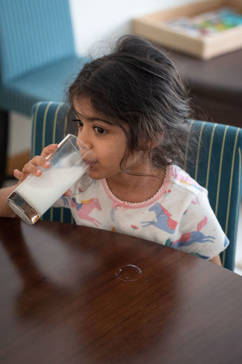 Close-Up Of Girl Drinking Milk