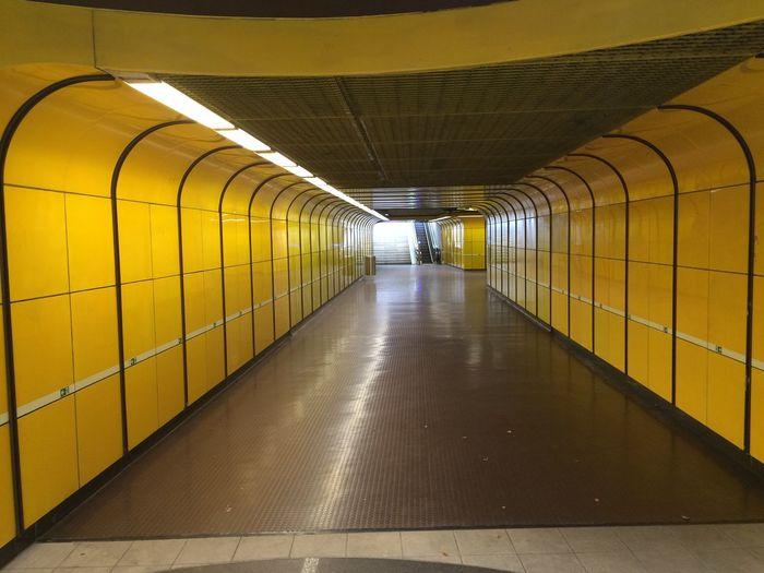 Empty Modern Narrow No People Subway Tile Tunnel Yellow