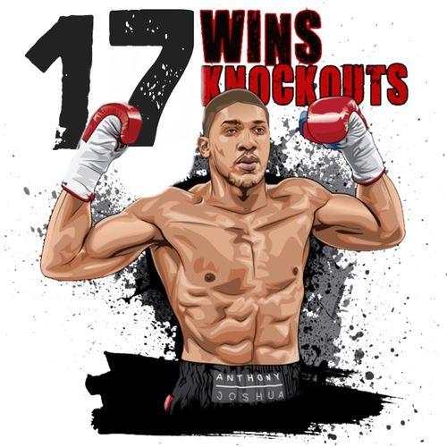 My Art .. #ANTHONYJOSHUA @Anthonyfjoshua ... 17 FIGHTS - 17 WINS - 17 KNOCKOUTS !!! 😜👊😜👊😜👊😜👊😜👊😜👊 Boxing Anthonyjoshua