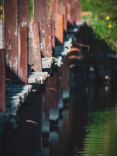 Close-up of wooden posts in river