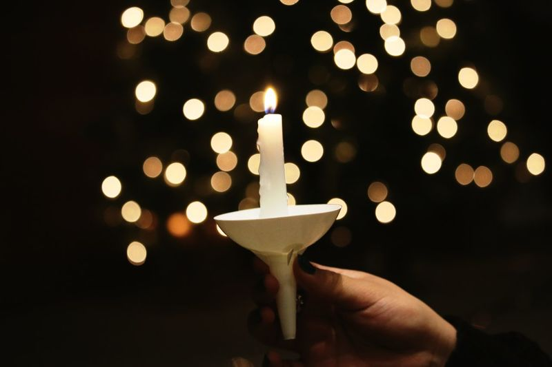 candle light service Christmastime Church Candlelight Flame Illuminated Celebration Burning Holding Candle